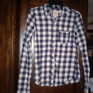 Hollister Junior Girl Sz Small Flannel Button Down